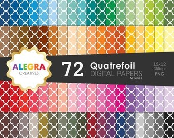 Quatrefoil Digital Paper Pack, Instant Download, Scrapbook Paper, Rainbow