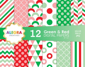 Green and Red Digital Paper Pack, Instant Download, Scrapbook Paper, Christmas, Polka, Chevron, Stripes