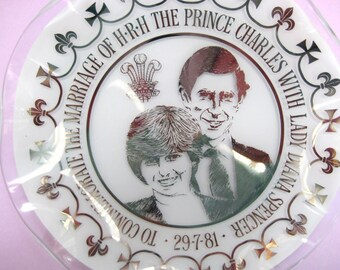 Vintage collectible plate, Chance glass, Charles and Diana wedding, 1981, boxed