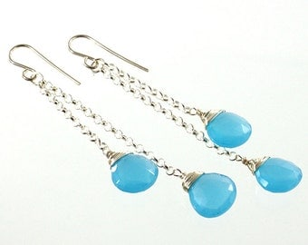 Gemstone Drop Earrings - Blue Chalcedony - Gemstone Earrings - Sterling Silver