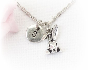 Bunny necklace, bunny jewellery, rabbit necklace, rabbit jewelry, Personalised jewelry, initial necklace, handmade necklace,SPINRABBIT01