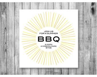 Sunburst BBQ Invitation