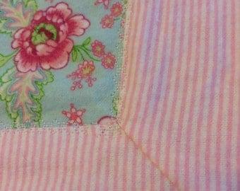 Pretty Pink Flowers Flannel Receiving Blanket