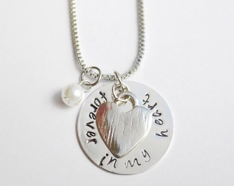 forever in my heart necklace , hand stamped, memorial necklace