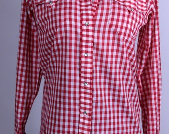 Rockmount Ranch Wear Red and White Checkered Rockabilly Shirt