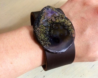 Stone Slice Leather Cuff