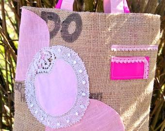 BAG BURLAP lace pink