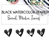 Black Heart Watercolor Social Media Icons, Custom Social Icons