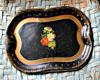 Vintage Tole Tray-Black with Decal,Gold Trim FREE SHIPPING !