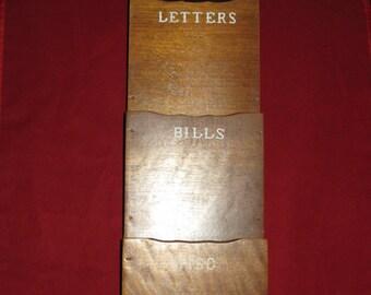 Wooden Mail Organizer/Vintage 3 Pocket Mail Organizer/Mail Organizer with Key Hooks/Wooden Wall Mount Mail Organizer