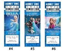 Disney Frozen Movie Birthday Ticket Invitations, Disney Frozen Elsa Anna Olaf Party Invitations, Disney Frozen Digital Invitations