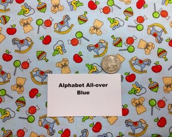 All-Over Alphabet Fabric Blue - 1 and 1/3 Yards