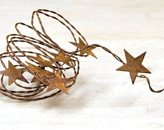 Rusty Star Garland, Star Garland, Primitive Rusty Star Garland, Craft Supplies, Tin Star Garland
