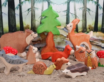 BIG SET Forest animals, Waldorf toys,  Animal toys, Toddler gift, Baby & Toddler toys, Wooden Toys, Natural Wood Toy, Baby toy, Toddler Toy
