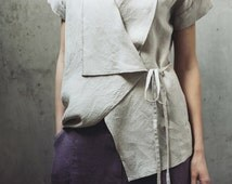 Wrap linen blouse Motumo - 14P3