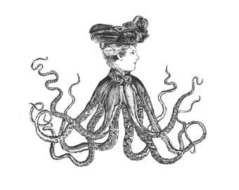 Vintage-Style Octopus Print of Original Illustration