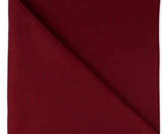 Burgundy solid pocket square, Mens red cotton handkerchief, gift for him