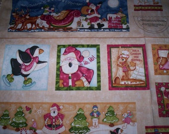 "Sale !!  Hugs and Holly Kelly Mueller Red Roosters Fabric 1 panel 24"" x 44"" Santa ginger bread men penquin"