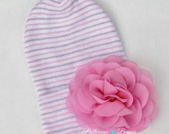 Newborn girl hat, infant hospital hat, baby girl flower hat, newborn hospital hat, girl newborn hat, hat for newborn girl, newborn hat,