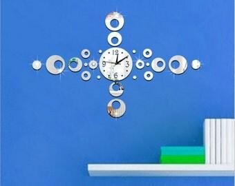 Cross shape digital acrylic mirror decal wall clock, decoration wall clock