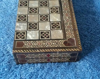 Beautiful chess backgammon travel box mother of pearl inlay! Handmade jewelry box