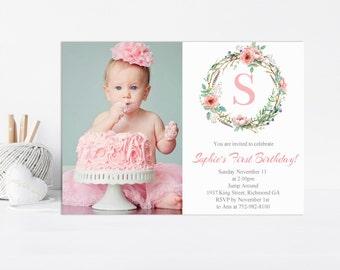 Printable Floral Invitation, Digital Invitation, Watercolor, Floral, Birthday Invitation, Printable Invitation, Girl Birthday, Bridal Shower