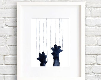 Naughty Black Cat - Art Print - Wall Decor - Watercolor Painting