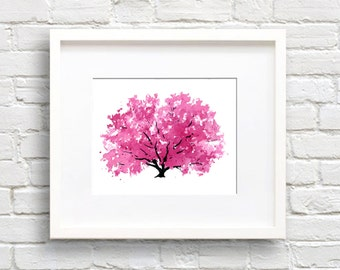 Magnolia Tree Art Print - Wall Decor - Kitchen Watercolor Painting
