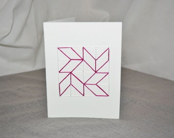 Rhapsodic Threads Brand: CHEVRONS blank quilted greeting card in funky magenta