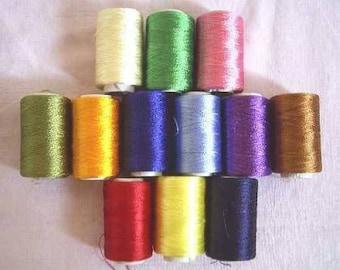 Silk Thread, 12 Spools  Indian Silk Thread,Hand And Machine Embroidery Thread, Art silk thread wholesale