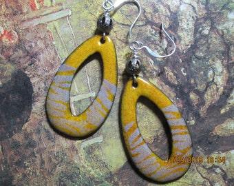 tear drop copper enamel earrings, grey and gold