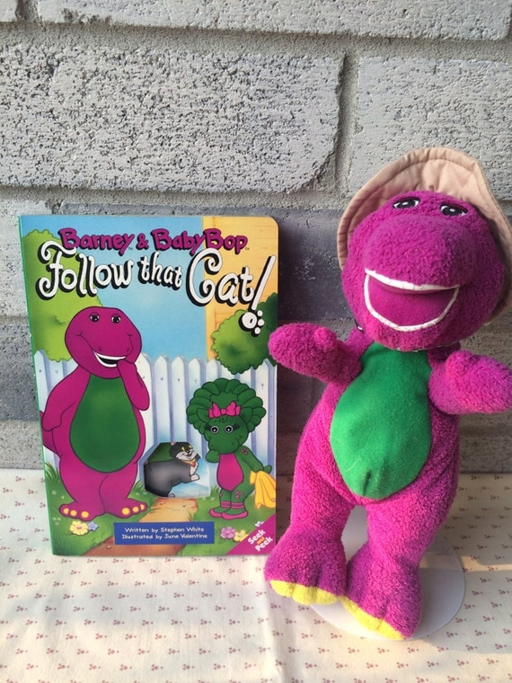 Vintage 1994 Barney Amp Baby Bop Follow That Cat Book Seek And