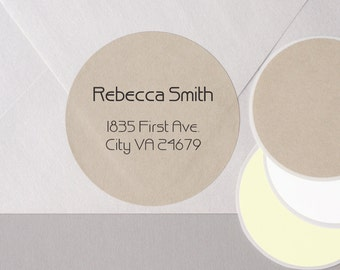 "minimalist GEOMETRIC font return address label stickers modern personalized round 12 large 2.5"" or 20 medium 2"" brown bag KRAFT paper"