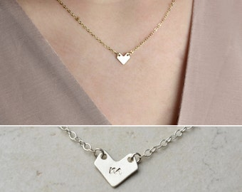 Mini Chevron Necklace / Initial Necklace / Sterling Silver, Gold, Rose Gold / Delicate Necklace / Layering Necklace