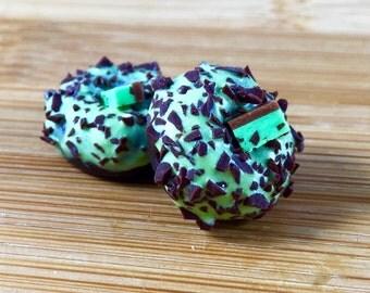 Polymer clay mint chip donut charm jewlery