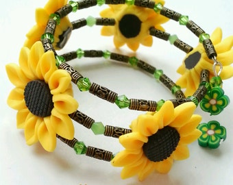 sunflower bracelet, sunflower wrap bracelet, sunflower, sunflower jewelry, flower