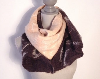 hand felted scarf in Merino Wool and silk.