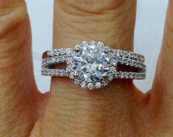 Round Split Shank Halo CZ Wedding Rings Set Engagement Bridal 1.25 Carat Cubic Zirconia Sterling Silver Rhodium