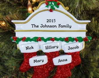5 Family Christmas Stocking Ornament, Personalized Family Name Christmas Ornament, Family Of 5 Personalized Christmas Ornament, Custom Gift