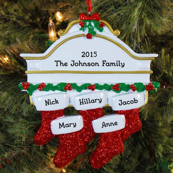 Christmas Decorations With Names On Them: 5 Family Christmas Stocking Ornament Personalized Family Name