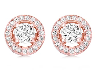Rose Gold Bridal Collection, Rose Gold stud earrings, bridal glamour, Bridal and Prom Wear
