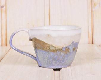 Cup light blue - ceramic Cup with pattern - Teacup in light blue and white - coffee cup pastel - rustic Cup - production order