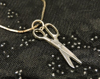 Scissors Necklace Sterling Silver Beautician