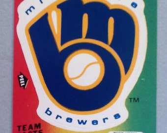 Vintage 1980's Fleer Team MLB baseball Sticker Card Milwaukee Brewers