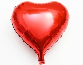 "3pcs Heart Shape Foil Mylar Balloon / 18"" Red Heart Balloon / Wedding Party Decor / FB001"