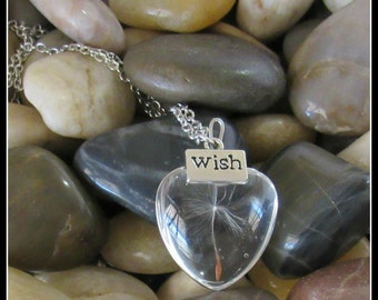 "Dandelion Seed Heart Pendant on 24"" Chain"