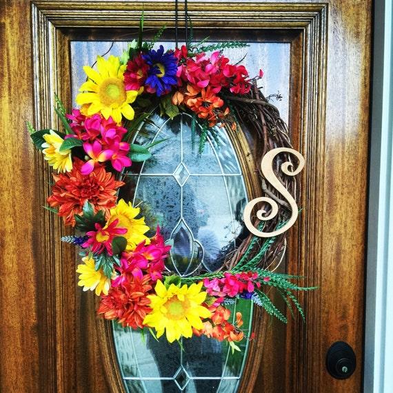 Front Door Decorations For Summer: Front Door Decor Sunflower Wreath Summer Wreaths For Front