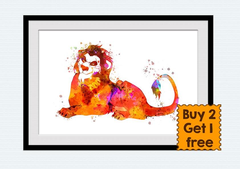 Lion King Home Decor: Scar Lion King Print Scar Watercolor Poster Disney Art Decor