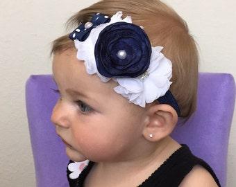 navy blue baby headband- navy and white headband-white and navy newborn headband-navy and white infant headband- navy blue and white bows