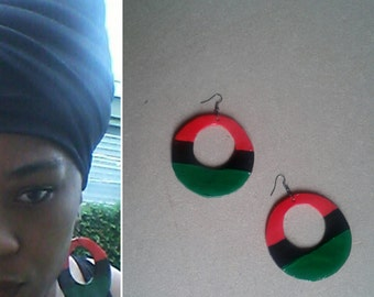 RBG red black and green large hoop earrings